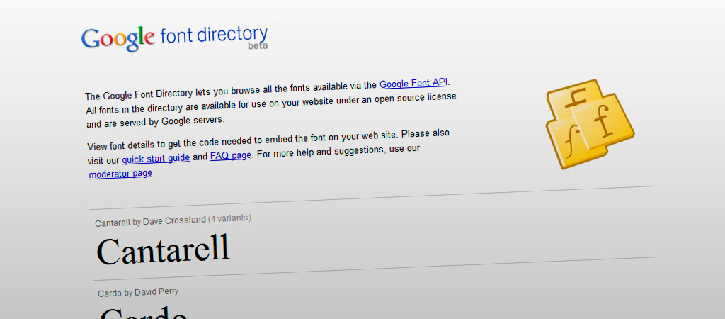Directorio de fuentes de Google (Google font directory)