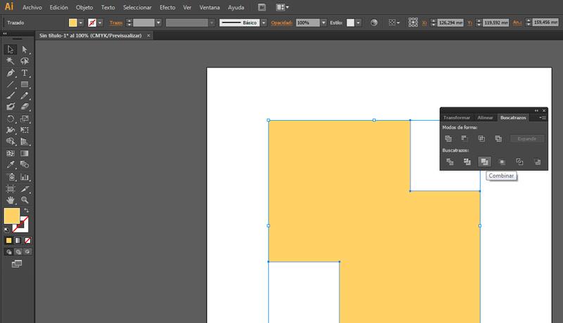Al pulsar sobre combinar en illustrator se fusionan los trazos