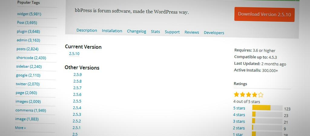 Versiones anteriores de un plugin de WordPress