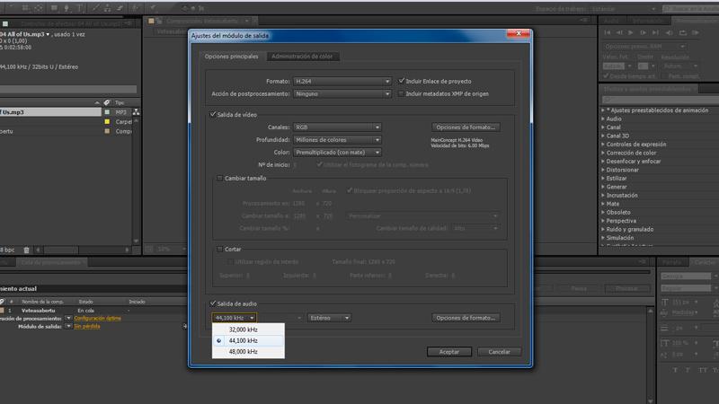 Salida de audio 44,100 kHz - Preparar y exportar vídeo HD 720/1080 para Vimeo y Youtube con After Effects CS6