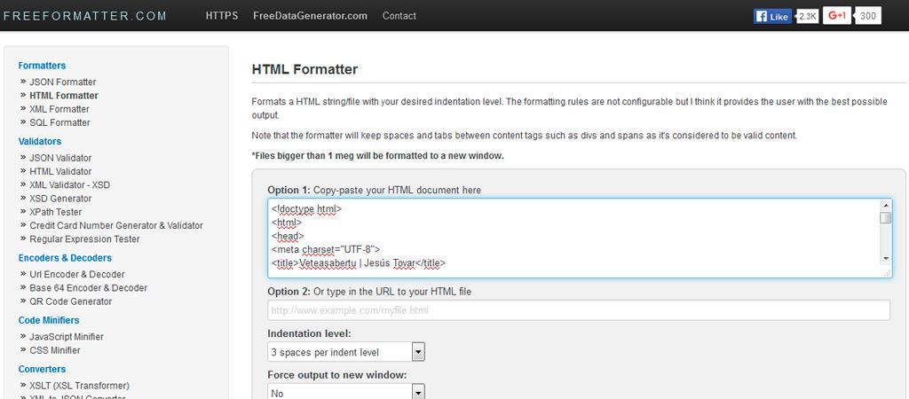 Formatear HTML (ordenar HTML)