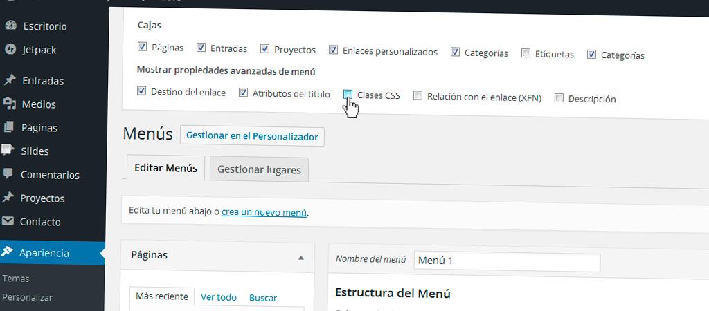 Personalizar CSS de cada elemento de menú en WordPress