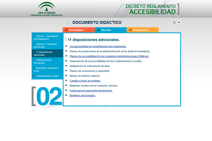 Desarrollo interactivo de Decreto Reglamento Accesibilidad