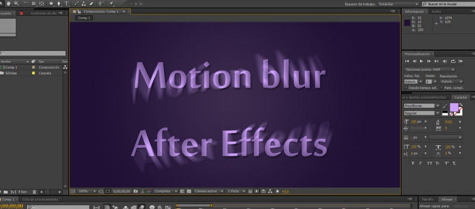 Desenfoque de movimiento para objetos vectoriales en After Effects